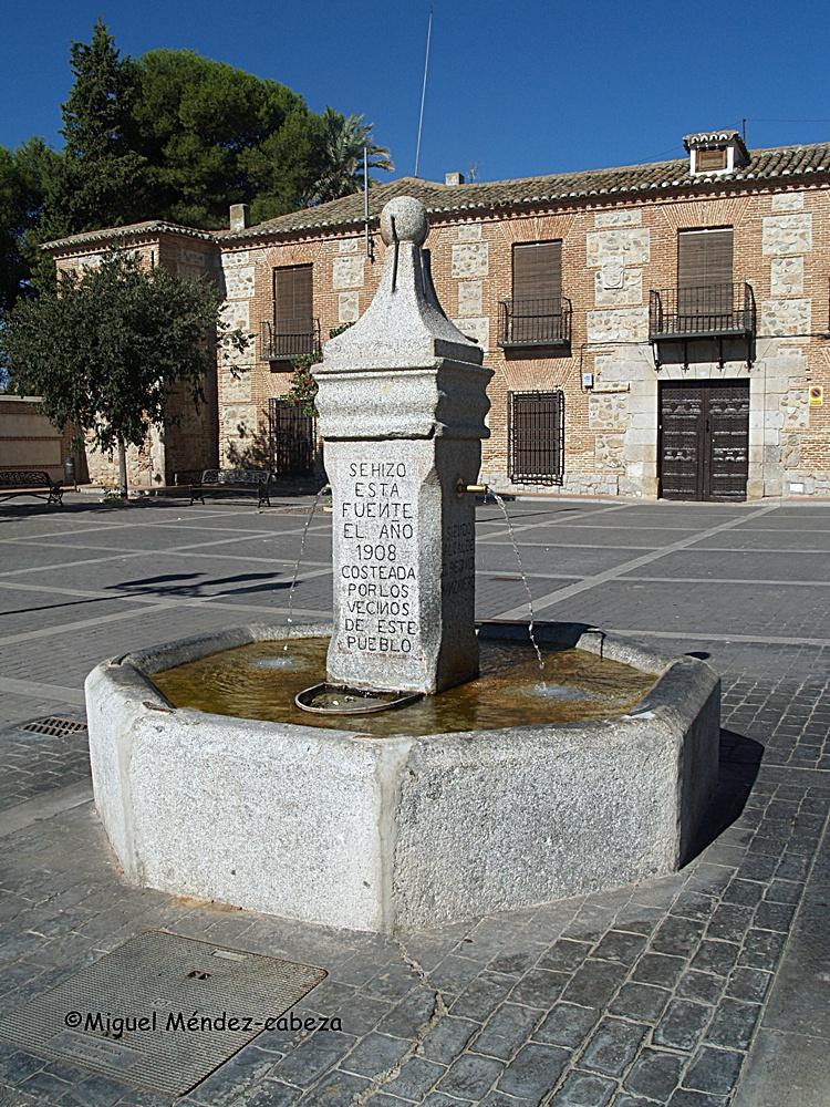 Fuente de la plaza y detrás el palacio de los marqueses de Valdepusa