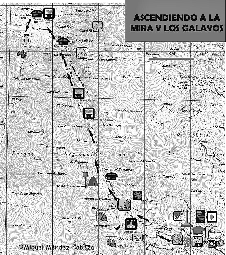 Ruta de subida a los Galayos y la Mira desde Guisando