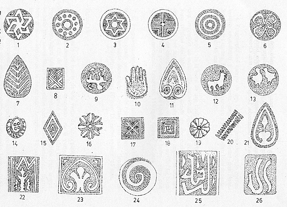 Motivos decorativos de cerámicas árabes talaveranas según trabajo de Alberto Moraleda