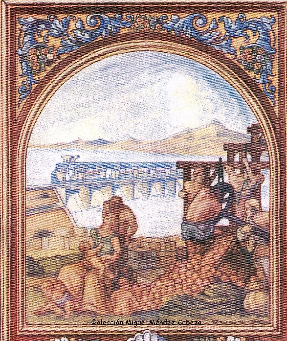 Dibujo alegórico de Ruiz de Luna sobre los regadíos y huertas del Alberche