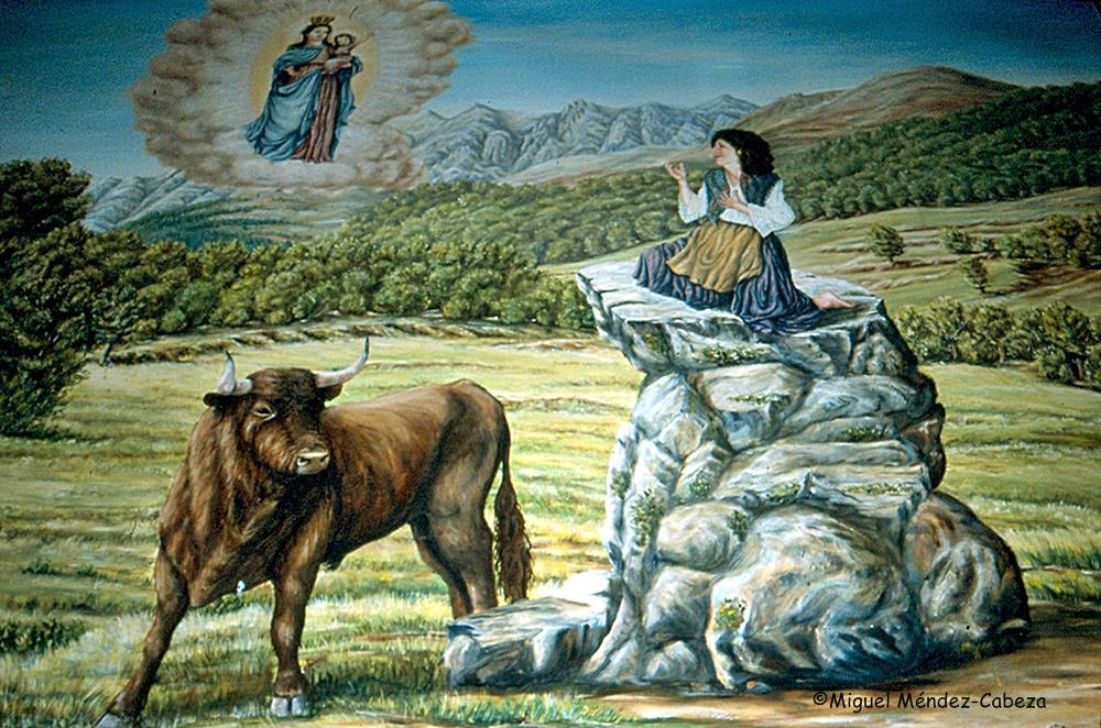 Pintura de la ermita que representa uno de los milagros de la Virgen de Chilla