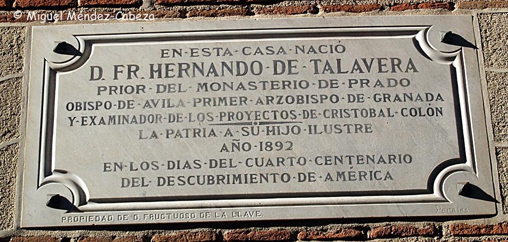 Placa en la casa natal de fray Hernando de Talavera