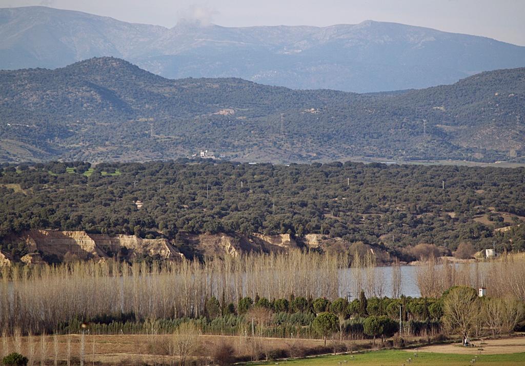El embalse de Cazalegas, sus choperas y al fondo la sierra de San Vicente