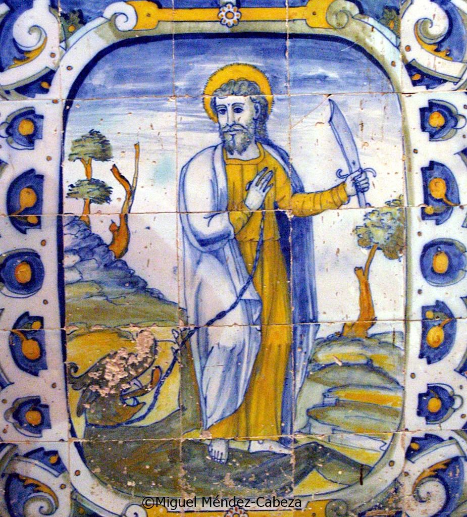 San bartolomé en azulejería de Talavera del siglo XVI en la iglesia parroquial de El Casar de Talavera