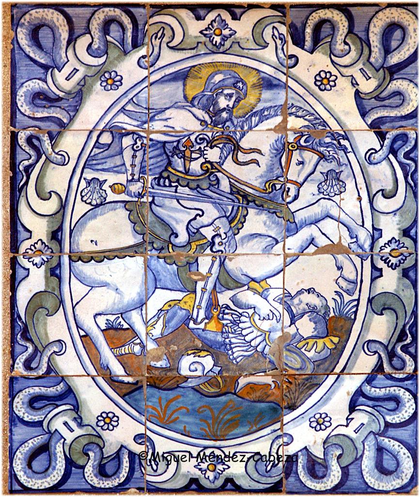 Azulejería talaverana del siglo XVI representando a Santiago matamoros