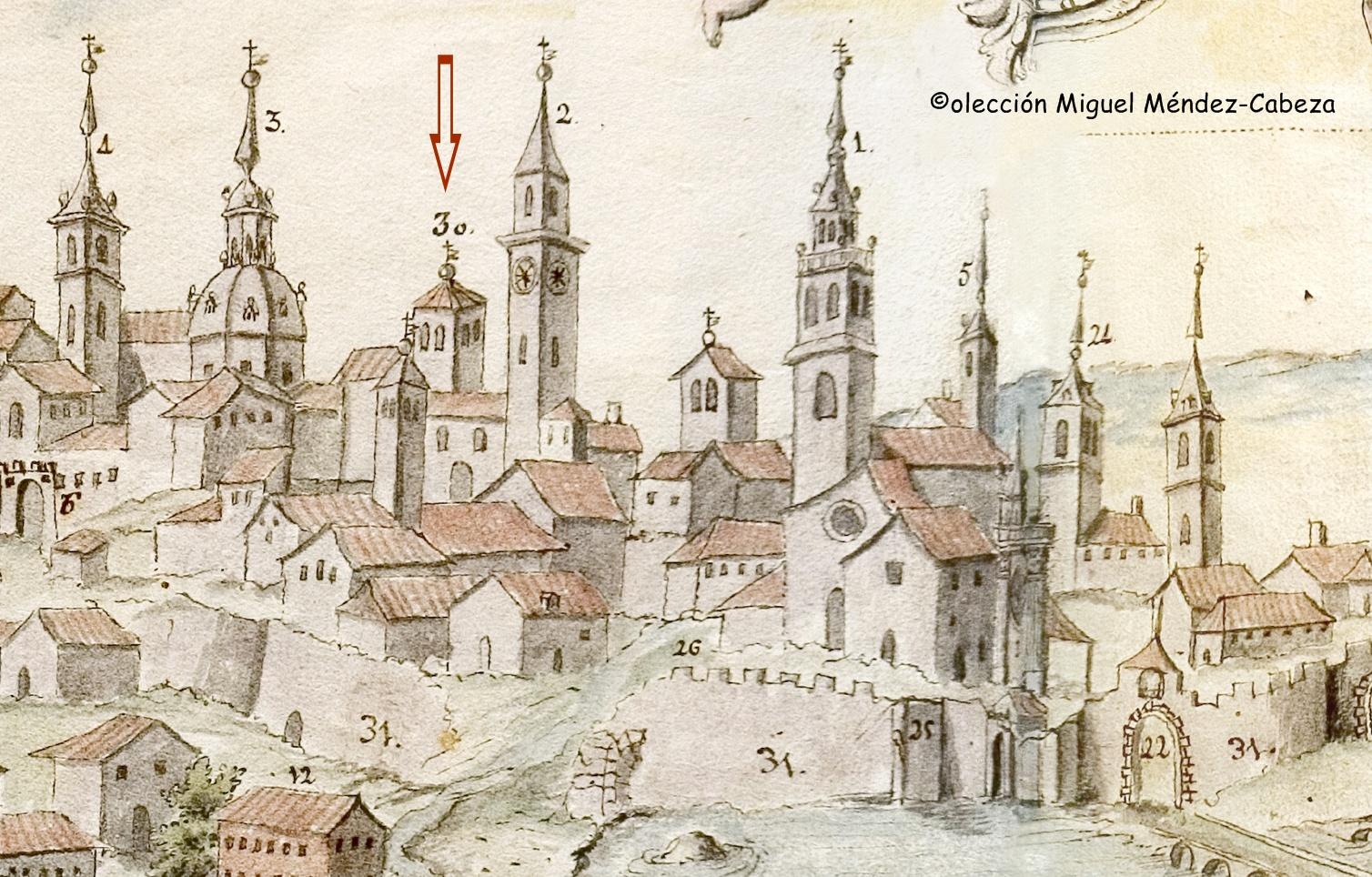 La flecha señala la torre de San Pedro en un dibujo de 1768 de la Biblioteca Regional