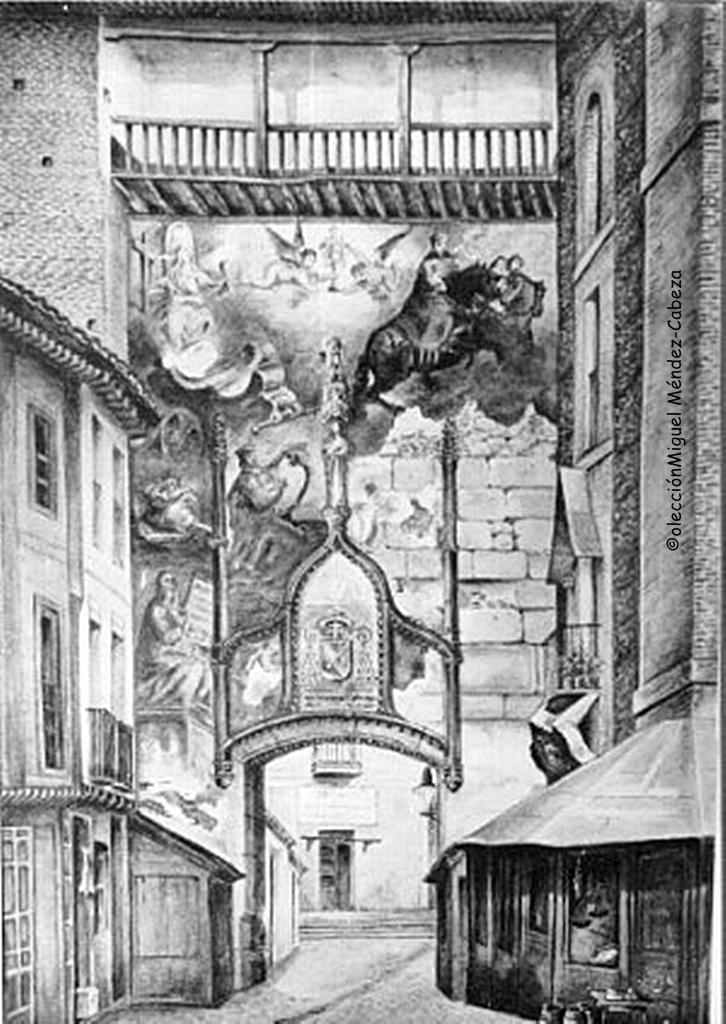 Dibujo sobre fotografía del siglo XIX. Se ve sobre el arco la imagen gótica de la Virgen que se ve adosada a uno de los muros de la ermita del Prado