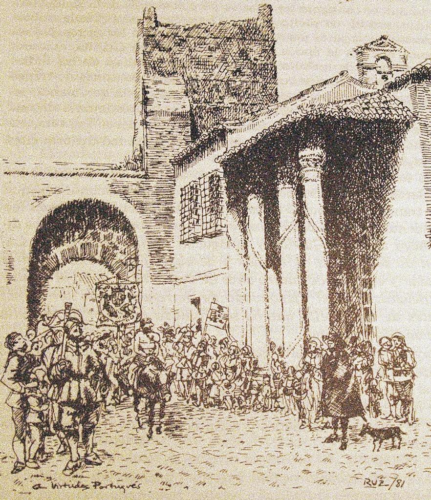 Preso de la Santa Hermandad llegando a la cárcel de la Puerta de Zamora conducido por los cuadrilleros. Dibujo de Virtudes