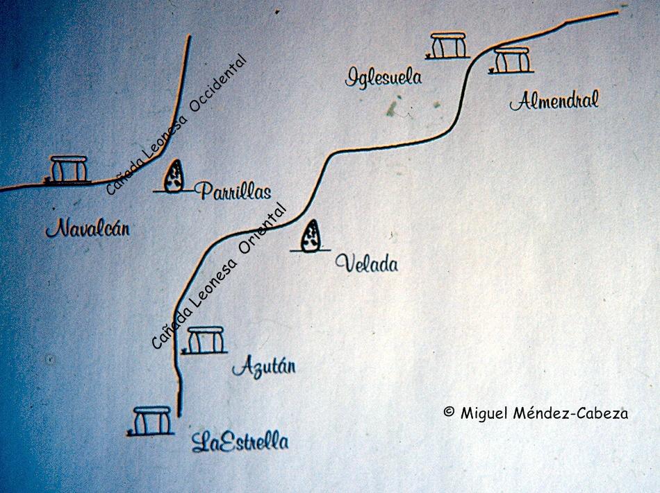 Curiosa coincidencia entre el trazado de las cañadas y los monumentos megalíticos de la comarca