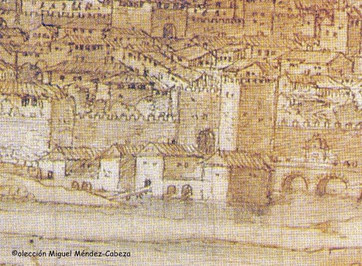 Molinos del primer ojo del puente Viejo en el dibujo del siglo XVI de Van der Wingaerde