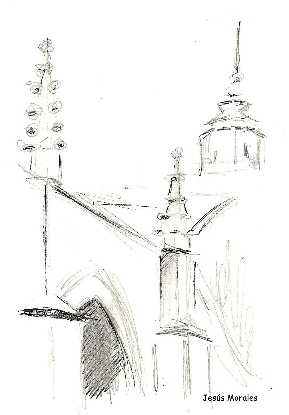Dibujo de detalle arquitectónico de la Colegial de Jesús Morales