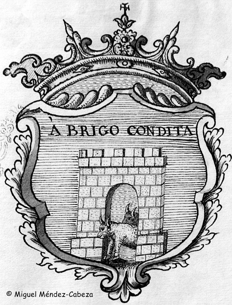 Escudo de la historia de Torrejón con la alusión a Brigo como fundador mítico