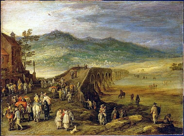 Cuadro del Louvre-de-Brueghel el Viejo que representa el puente Viejo de Talavera