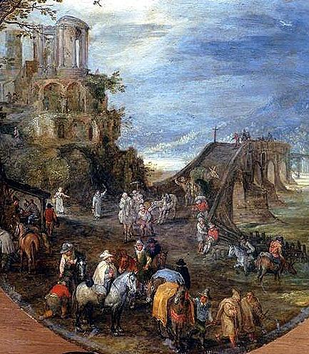 El templo de la Sibila deTivoli en una composicion de Brueghel junto al puente de Talavera