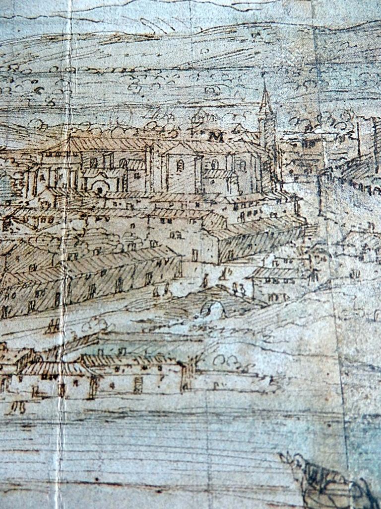 El puente Moris y la desembocadura de La Portiña en el dibujo de Van der Wingaerde