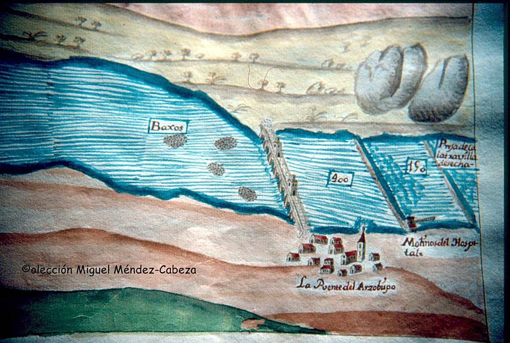Puente del Arzobispo en el plan de navegación de Carduchi