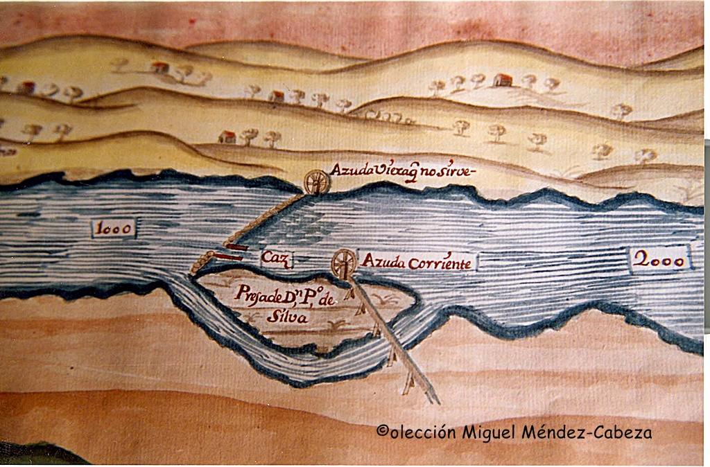 Azuda de riego con sus ruedas y canales en el plan de Carcduchi