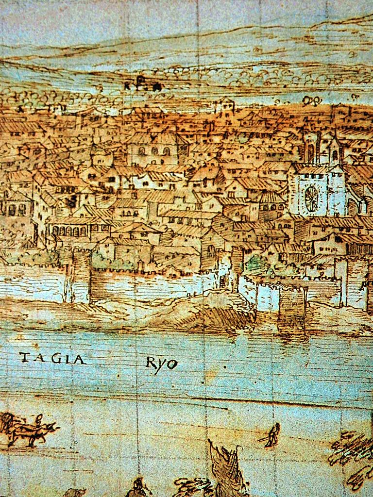 Muralla en la zona del actual puente de Hierro y la Colegial