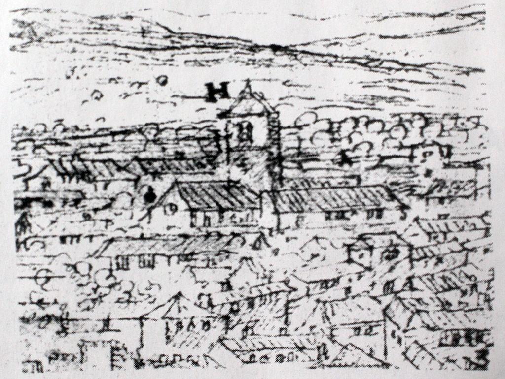 la iglesia de San Miguel en el dibujo de Van der Wingaerde del siglo XVI