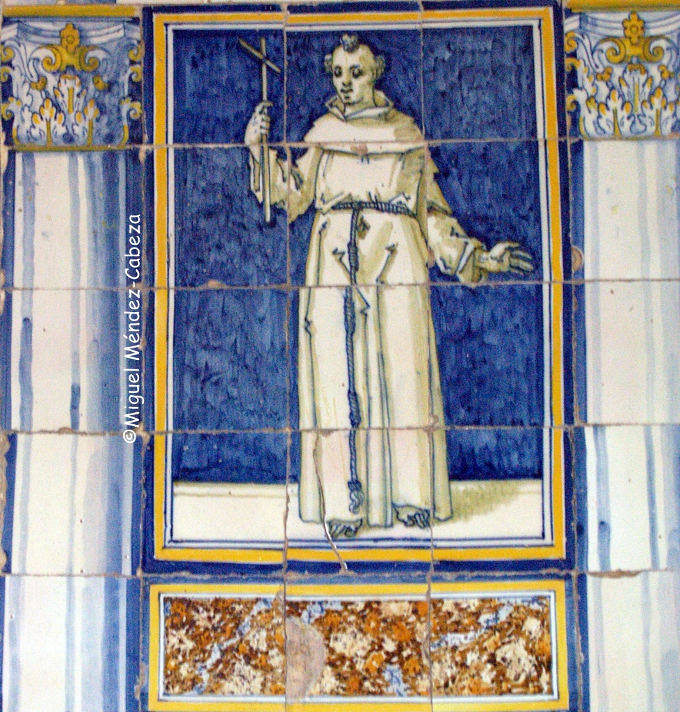 Panel de azulejos que representa a San Francisco en la ermita Virgen de Gracia de velada