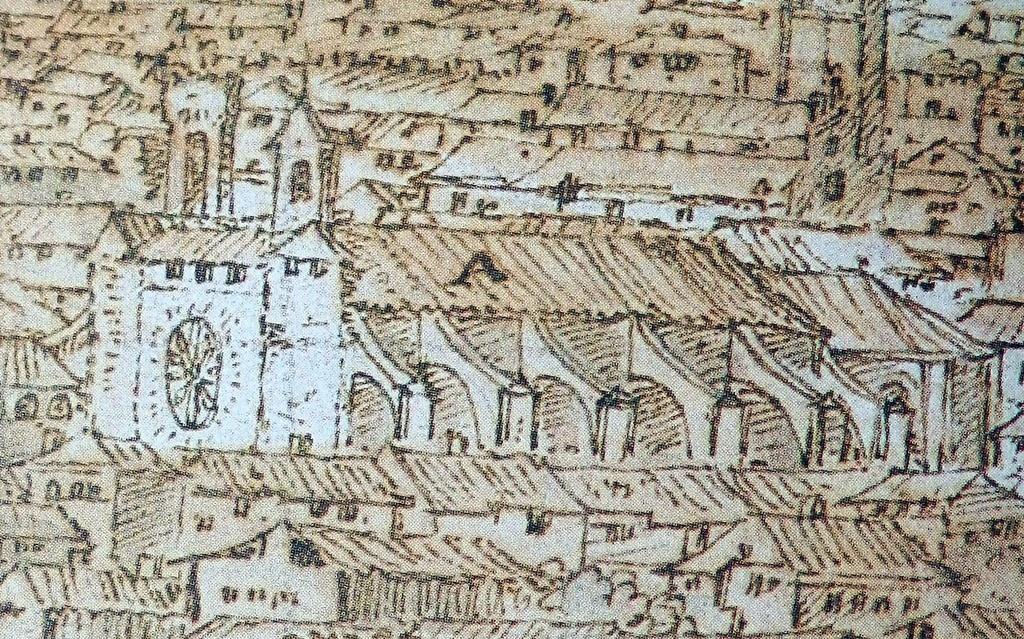 La Colegial dibujada por Van der Wingaerde en el siglo XVI, obsérvese la torre diferente de la actual que se levantó en el siglo XVIII
