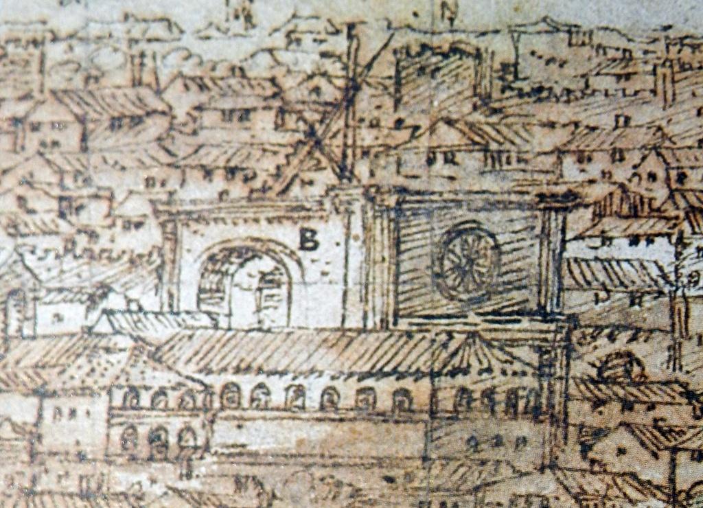 Iglesia en obras del monasterio jerónimo de Santa Catalina, por delante el mal llamado claustro de los canónigos