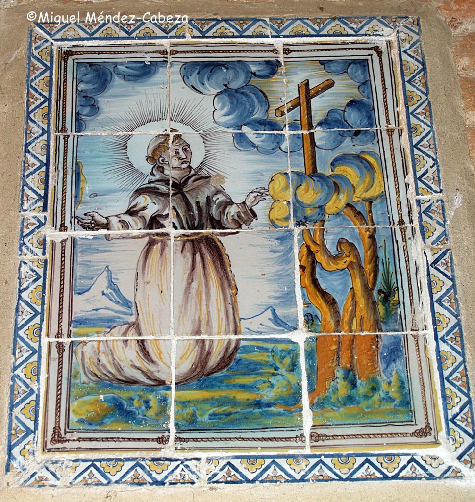 Panel de azulejos que representa a San francisco en el convento de Arenas de San Pedro