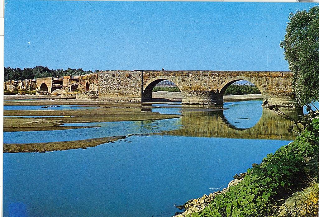 Postal de los años 70 que muestra los primeros ojos del puente Viejo donde chocaron los navegantes