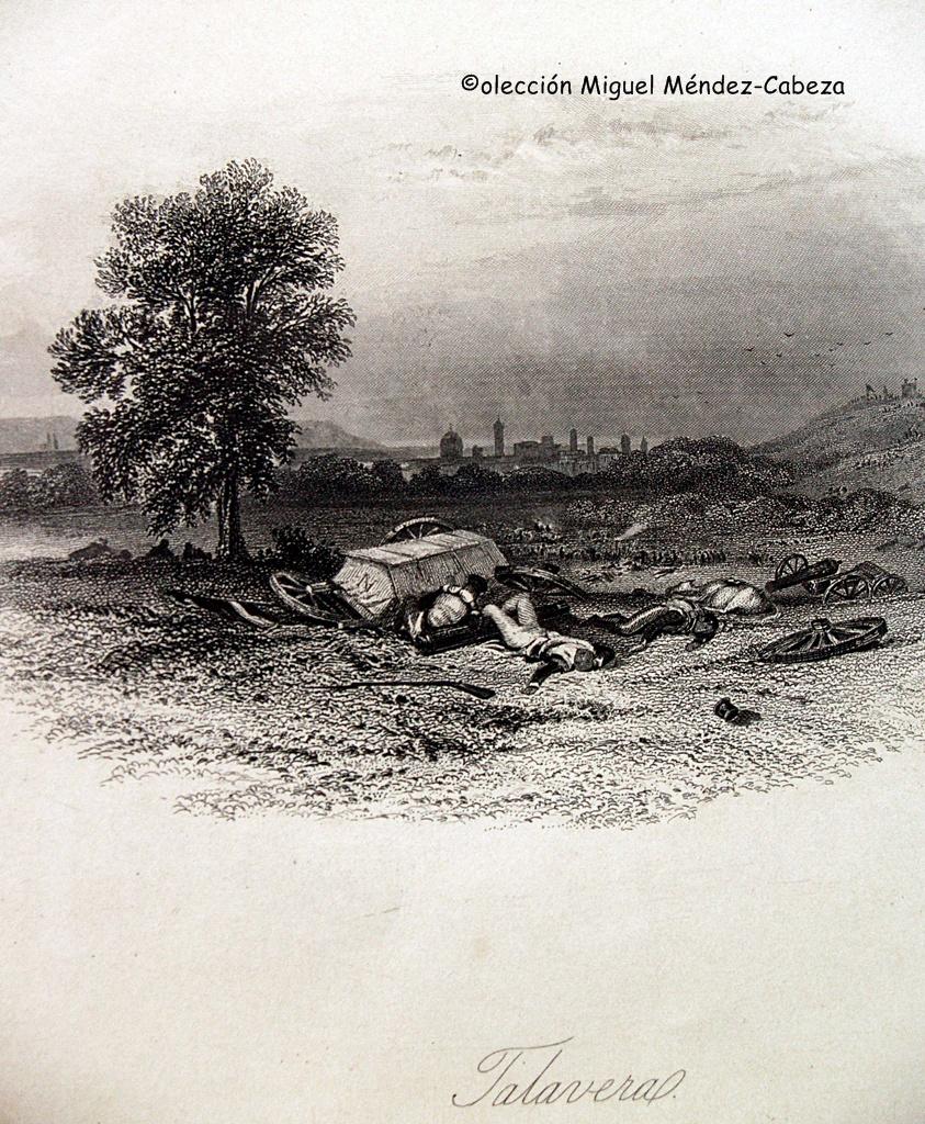Grabado que representa los campos de Talavera tras la Batalla de Talavera