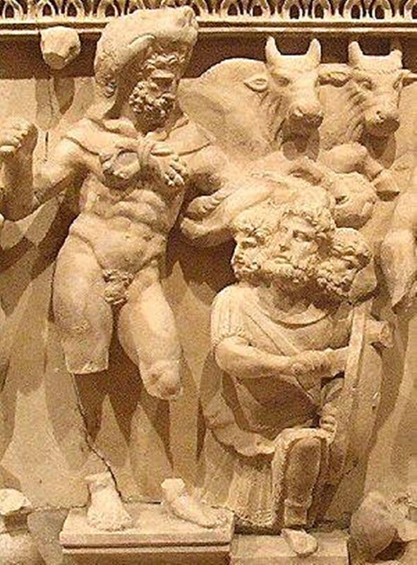 Hércules matando al rey Gerión con sus tres cabezas y sus manadas de toros