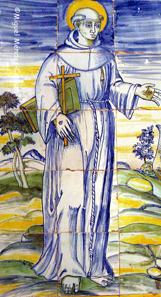 San Francisco en azulejería de la iglesia de Piedraescrita
