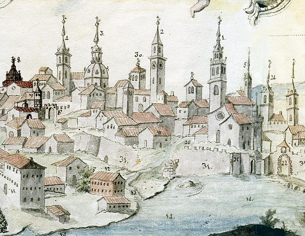 Detalle con las torres de iglesias y conventos de Talavera