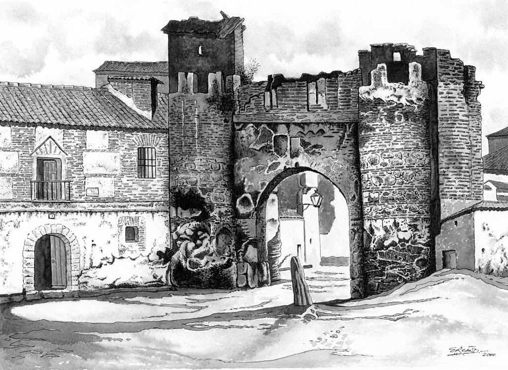 Puerta de Cuartos en un dibujo de Enrique Reaño sobre una fotografía antigua, es curioso el mojón enhiesto que se halla junto a la puerta y no sabemos que función tendría