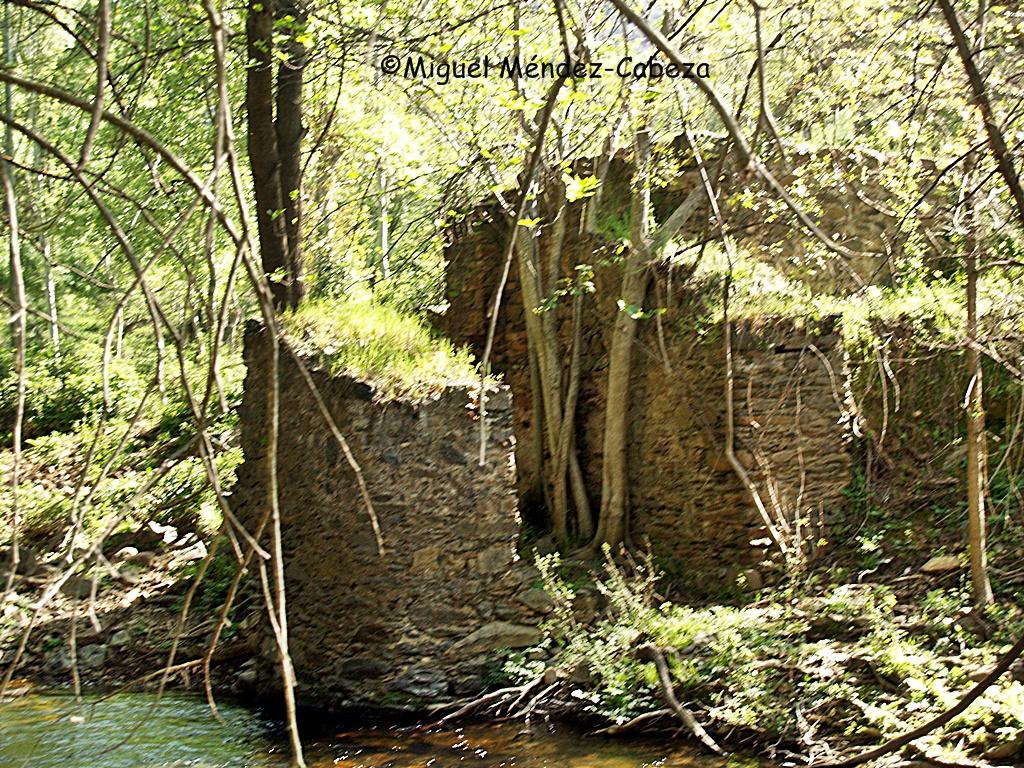 El Martinete que da nombre al paraje del río Jébalo. A la derecha el edificio del martinete y a la izquierda el muro sobre el que se apoyaba el eje de la rueda vertical