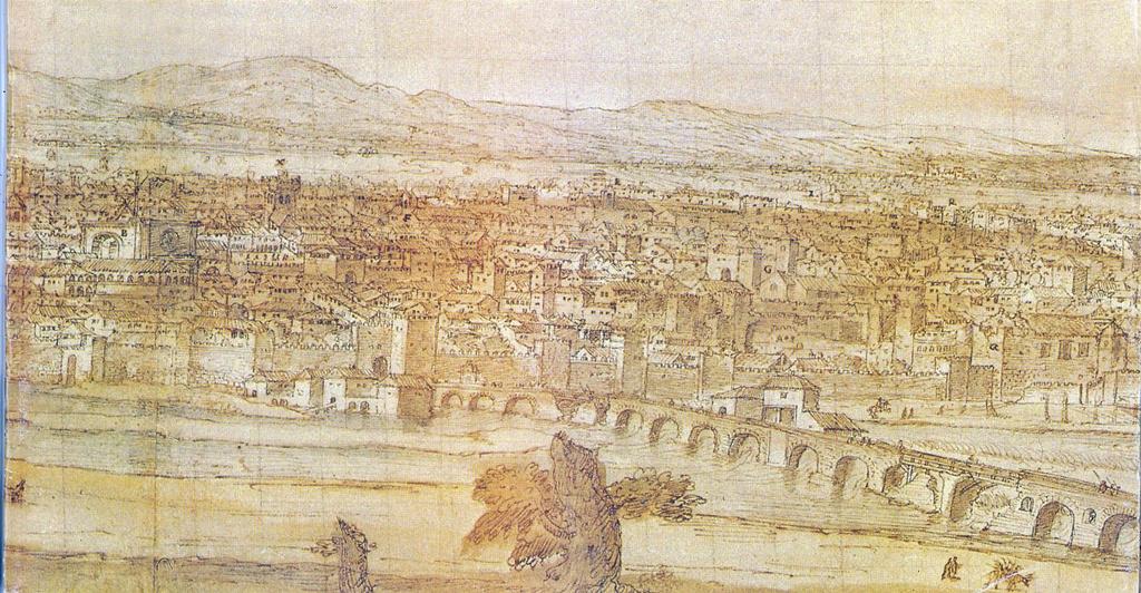 Vista parcial del dibujo de Van der Wingaerde de Talavera en el siglo XVI