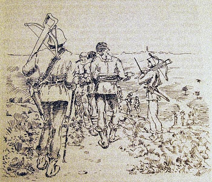 Cuerda de presos custodiados por los cuadrilleros de la Santa Hermandad