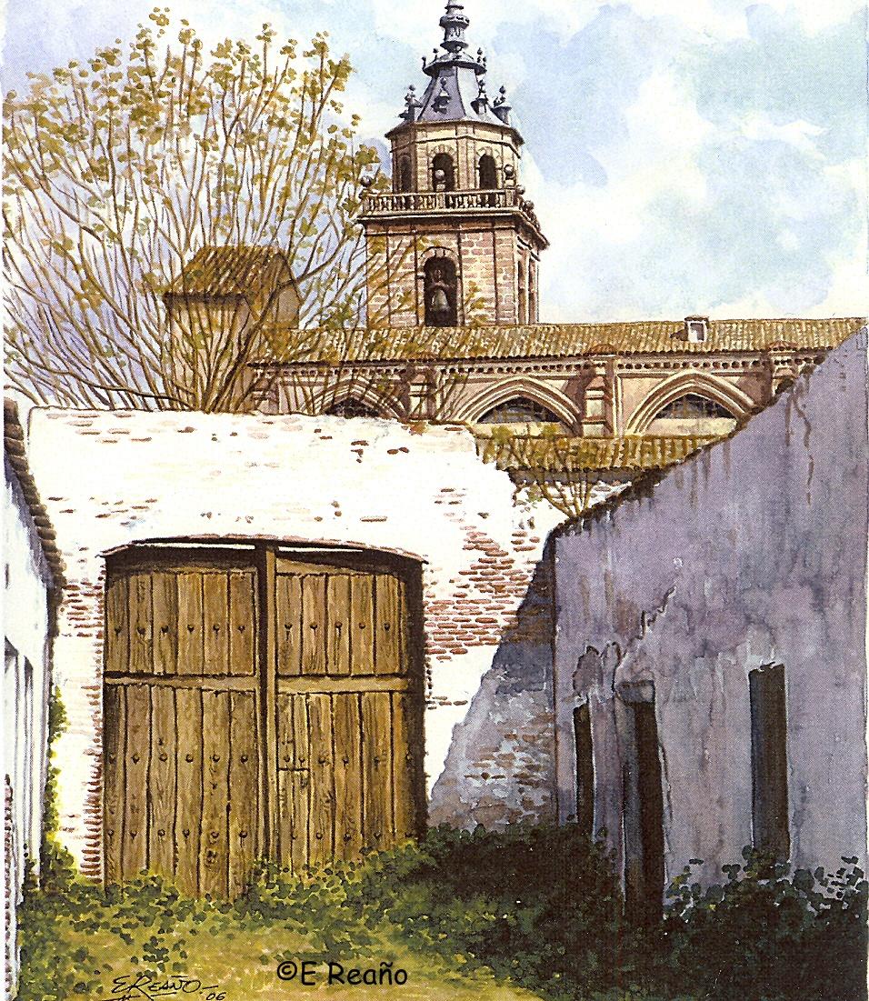 Dibujo de Enrique Reaño de los corrales situados al sur de la colegial