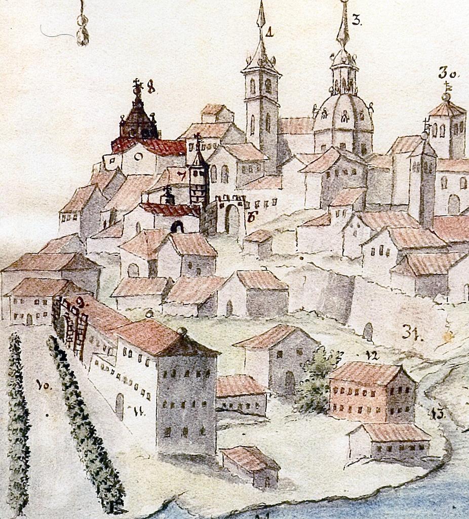 Detalle del grabado anterior con la parte occidental de la villa
