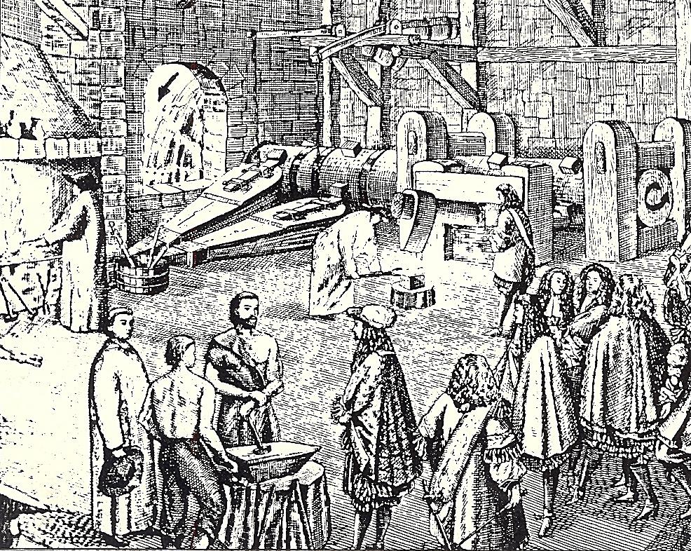 Un mazo en el siglo XVIII. La rueda movida por el agua hace girar el eje que con sus dientes acciona el mazo y los fuelles de la fragua
