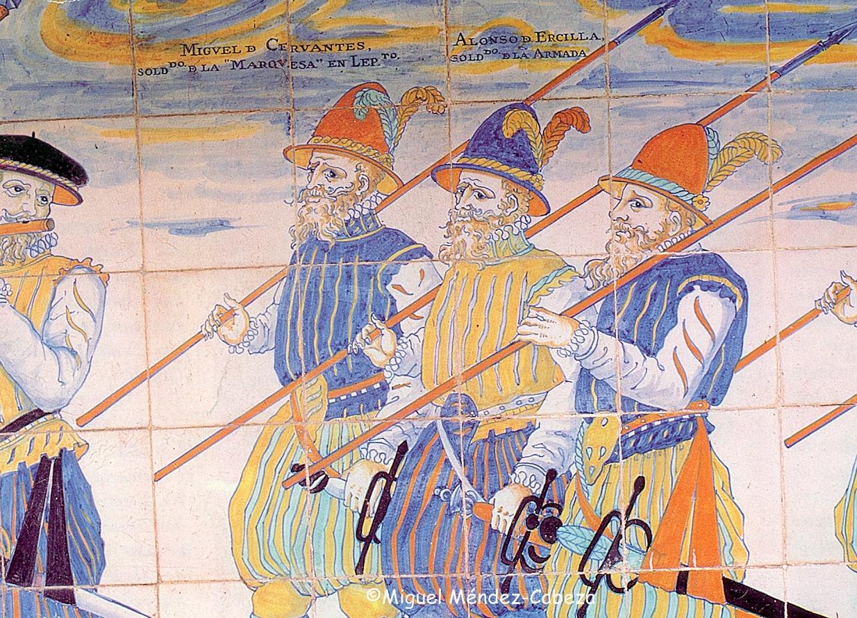Soldados famosos representados en azulejería de Talavera entre los que se encuentra Cervantes. Es un panel que se encuentra en el Archivo General de la marina de El Viso del marqués y que imita al del pórtico de la Basílica del Prado pero nominando a los personajes