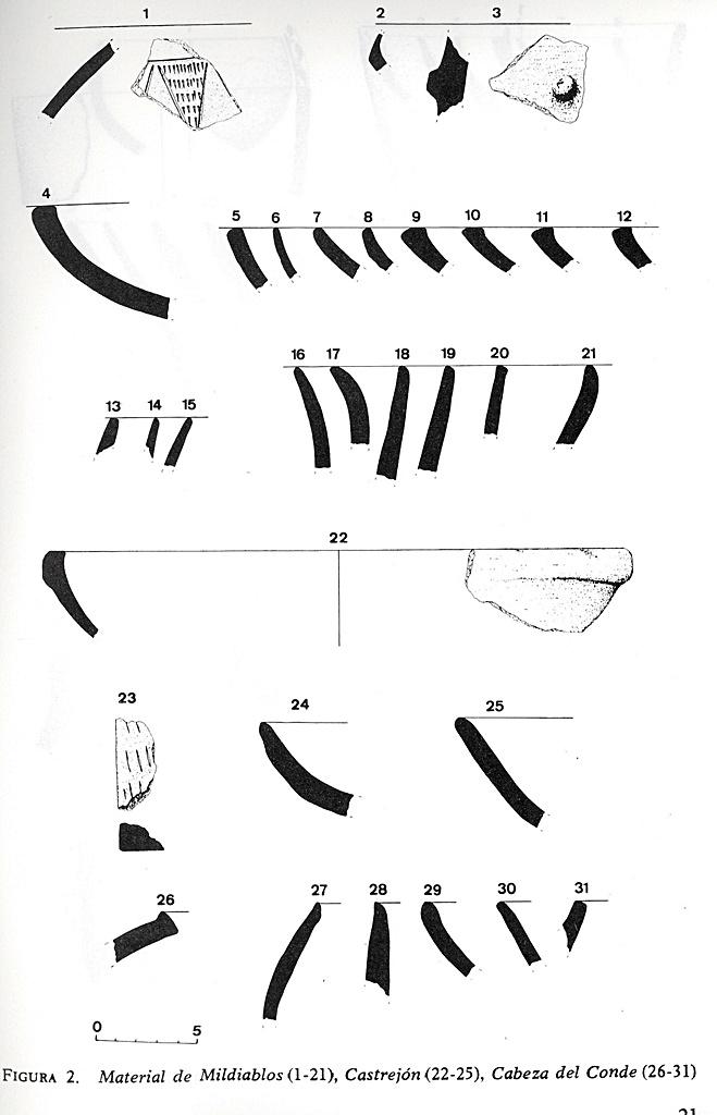 Materiales hallados entre otros en el yacimiento de Castrejón y Cabeza del Conde