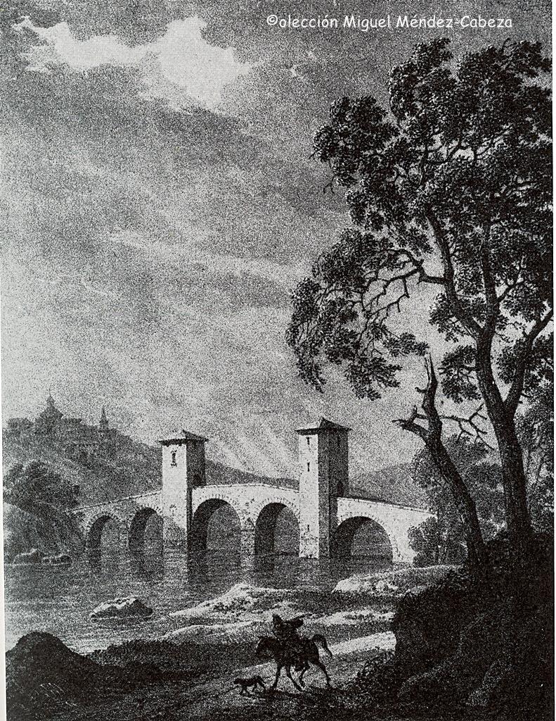 Grabado que representa el puente del arzobispo todavía con las torres defensivas