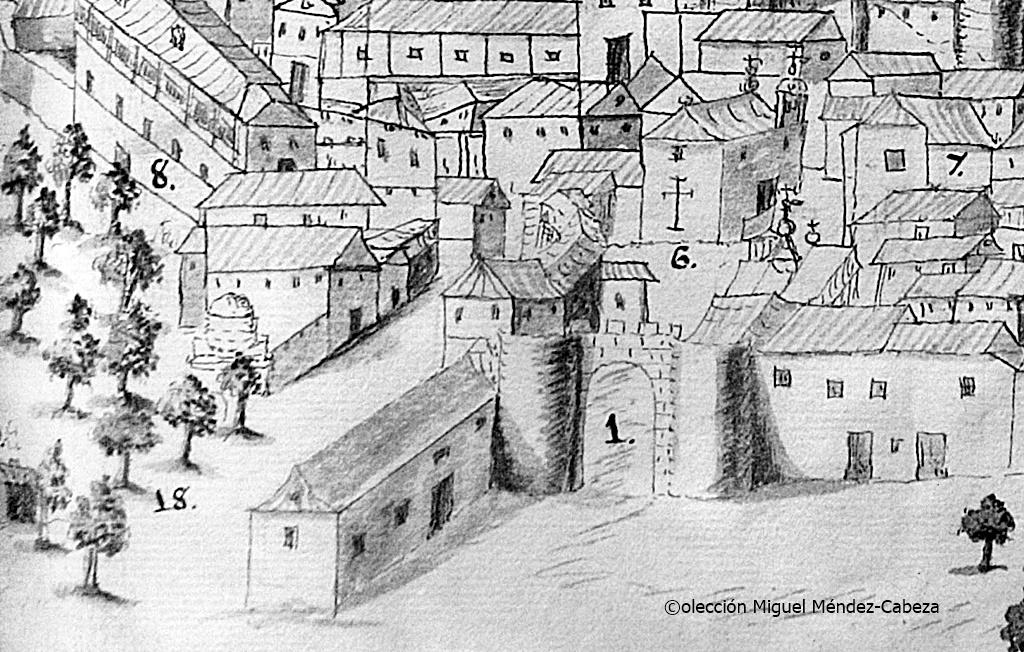 La puerta de Cuartos en el dibujo de la historia del padre Torrejón del siglo XVII