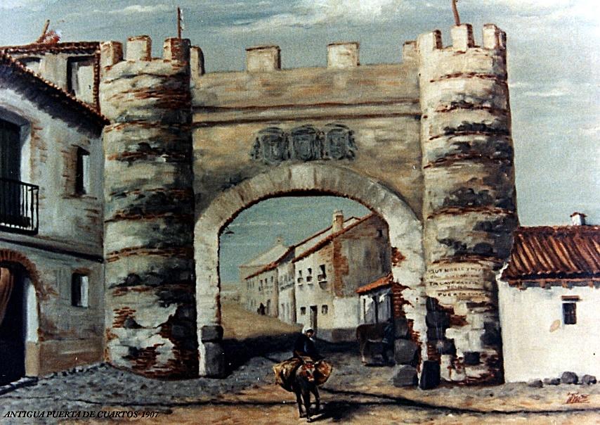 """Pintura de principios de sigloque representa la Puerta de Cuartos.Se ven los escudos referidos en imágenes anteriores y en la torre de la derecha un cartel que dice """"Muy Noble y Leal Ciudad de Talavera"""""""