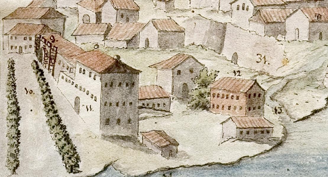 Dibujo de lahistoria de Torrejon, zona oeste.Los números 11 y 12 son edificios de la Reales Fábricas y el paseo de la izquierda es el paseo de los Leones que diseñó Juan Rulière