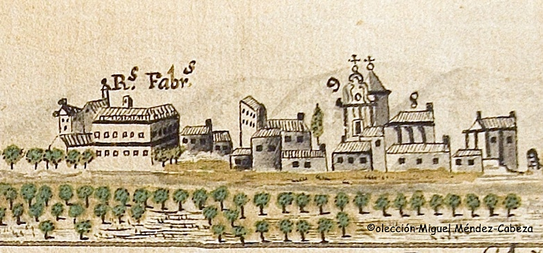 Panoramica deL Talavera-siglo xviii (Biblioteca-CLM), donde se observa un esquema de las reales Fábricas de Seda a la orilla del Río