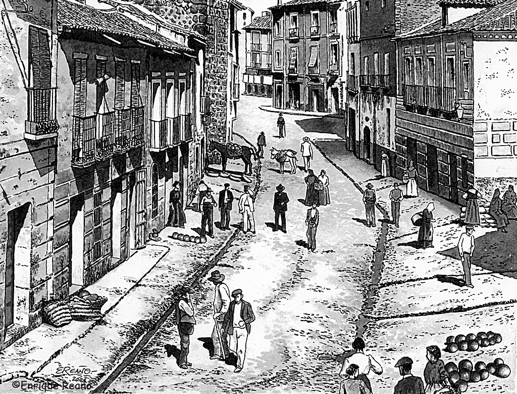 La calle Carnicerías surcada por diversos albañales que causaban tan mala impresión a los viajeros.. Dibujo de Enrique reaño sobre foto se Ruiz de Luna