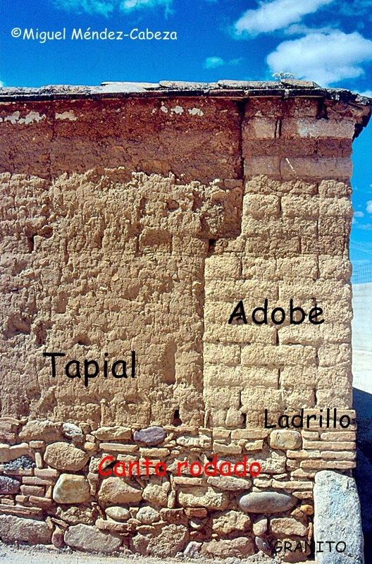 Materiales de construcción con el adobe y el tapial