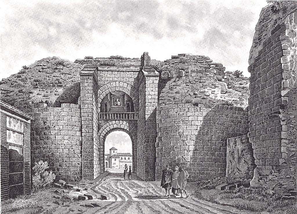 Puerta de Mérida según grabado de la obra de Laborde en 1809. Recreación en dibujo de Enrique Reaño