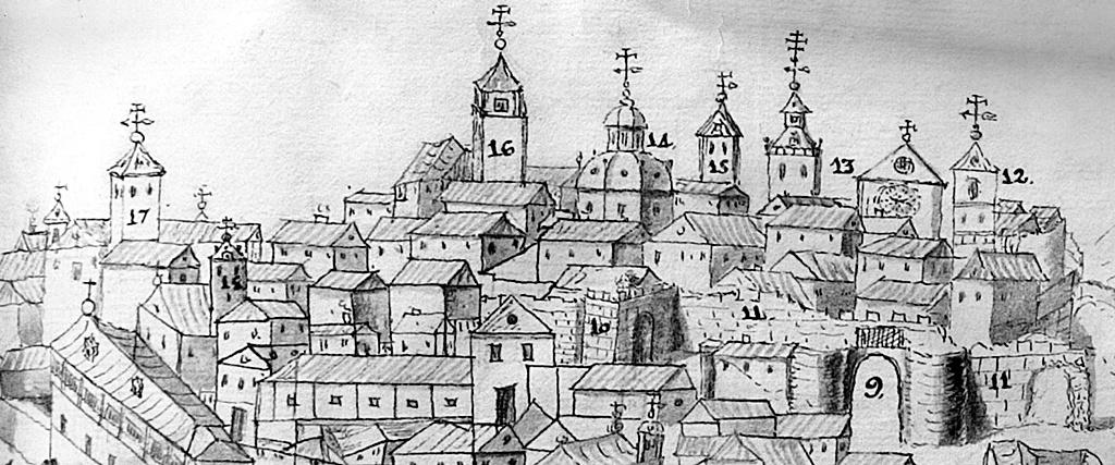 Panoramica de Talavera de la historia de Torrejón con las torres y chapiteles referidos en